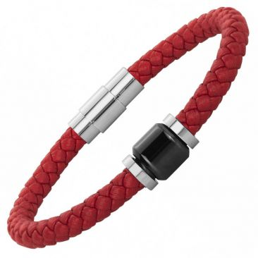 Bracelet cuir acier & céramique Phebus - 35-0906