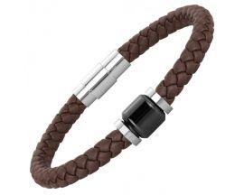 Bracelet cuir acier & céramique Phebus - 35-0909