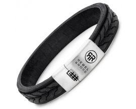 Bracelet cuir et argent Rebel & rose - RR-L0078-S-M