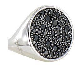 Bague plaqué or blanc et oxydes noirs Bronzallure - WSBZ00831W.BS