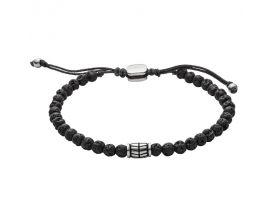 Bracelet perles Pierre de lave et acier - JF02887040
