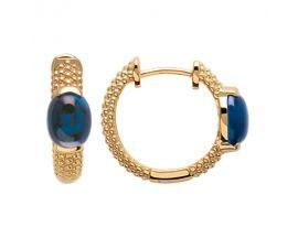 Boucles d'oreilles créoles plaqué or pierres bleues Stepec - IXIJJOP