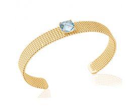 Bracelet jonc plaqué or pierre bleue Stepec - 97303558