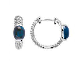 Boucles d'oreilles créoles argent pierres bleues Stepec - 1623340
