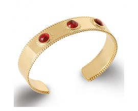 Bracelet jonc plaqué or pierres rouges Stepec - ESJPSIUT