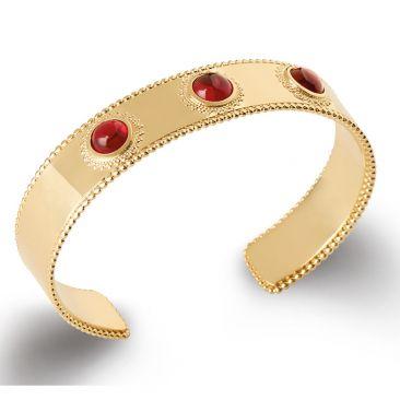Bracelet jonc plaqué or pierre rouge Stepec - ESJPSIUT