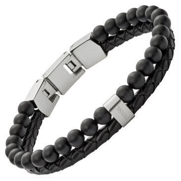 Bracelet cuir et acier Fossil - JF02763040