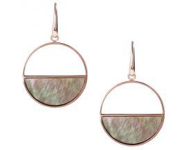 Boucles d'oreilles pendantes plaqué or rose et black mop Bronzallure - WSBZ00982.BM