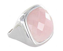 Bague plaqué or blanc et quartz rose Bronzallure - WSBZ00014W.RQ