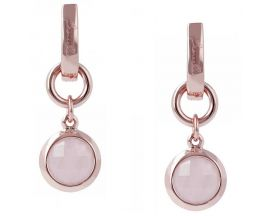 Boucles d'oreilles dormeuses plaqué or rose et quartz rose Bronzallure - WSBZ00081.R