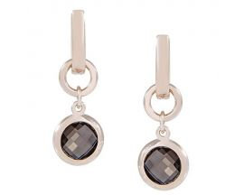 Boucles d'oreilles dormeuses plaqué or rose et smoky quartz Bronzallure - WSBZ00081.S