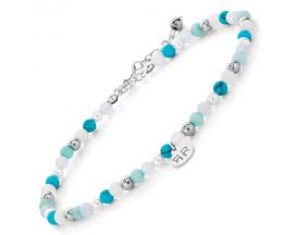 Bracelet de cheville perles Rebel & Rose Blue Fantasty 4mm - RR-AK001-S