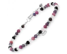 Bracelet de cheville perles Rebel & Rose Pink Fantasty 4mm - RR-AK002-S
