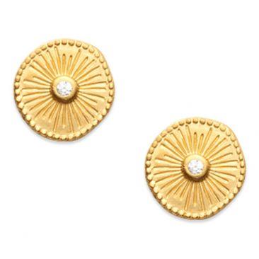 Boucles d'oreilles boutons plaqué or oxydes Stepec - IUUTEBP
