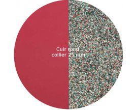 Cuir collier Les Georgettes - Fambroise soft/Paillettes multicolores rond 25 mm