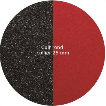 Cuir collier Les Georgettes - Paillettes noires/Rouge 25 mm