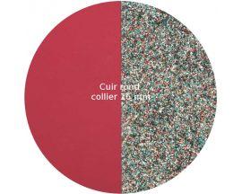 Cuir collier Les Georgettes - Framboise soft/Paillettes multicolores 16 mm