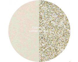 Cuir collier Les Georgettes - Crème/paillettes dorées 16 mm