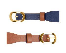 Bracelet cuir Les Georgettes Coutures - Denim/Canyon doré 14 mm