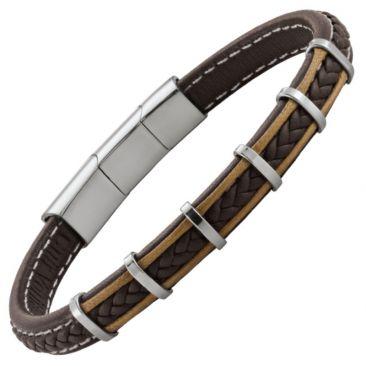 Bracelet homme cuir & acier Jourdan - RC018H