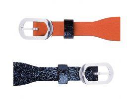 Bracelet cuir Les Georgettes Coutures - Corail/Marine métallisé acier 14 mm