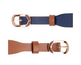 Bracelet cuir double tour Les Georgettes Coutures - Denim/Canyon acier rosé 10 mm