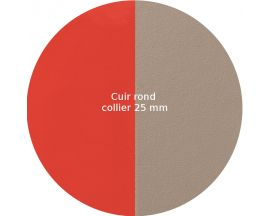 Cuir collier Les Georgettes - Corail vernis/Taupe rond 25 mm
