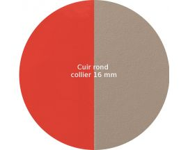 Cuir collier Les Georgettes - Corail vernis/Taupe rond 16 mm