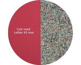 Cuir collier Les Georgettes - Framboise soft/Paillettes multicolores 45 mm