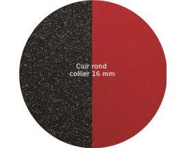 Cuir collier Les Georgettes - Paillettes noires/Rouge rond 16 mm