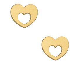 Boucles d'oreilles boutons or coeur Stepec - aPTXBS