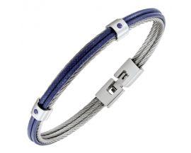 Bracelet acier & cuir Jourdan - HB035H
