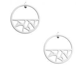 Boucles d'oreilles Les Georgettes - Girafe finition argent 30 mm