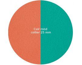 Cuir collier Les Georgettes - Terracotta/Bleu lagon rond 25 mm
