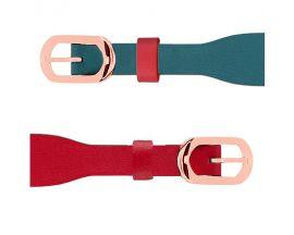Bracelet cuir Les Georgettes Coutures - Bleu/Framboise acier rosé 14 mm