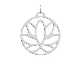 Pendentif collier Les Georgettes - Lotus finition argent - 25 mm
