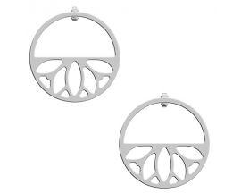 Boucles d'oreilles Les Georgettes - Lotus finition argent 30 mm