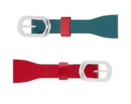 Bracelet cuir Les Georgettes Coutures - Bleu/Framboise acier 14 mm