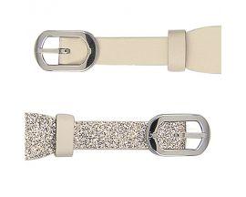 Bracelet cuir double tour Les Georgettes Coutures - Crème/Paillettes dorées acier 10 mm
