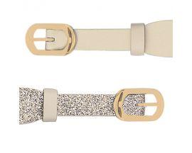 Bracelet cuir Les Georgettes Coutures - Crème/Paillettes dorées acier doré 14 mm