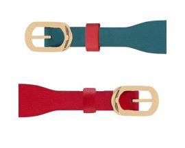 Bracelet cuir Les Georgettes Coutures - Bleu/Framboise doré 14 mm