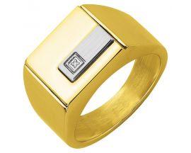 Chevalière homme acier & diamant Phebus - 15-0368