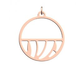 Pendentif collier Les Georgettes - Perroquet finition or rose - moyen rond 30 mm