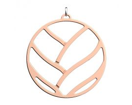 Pendentif collier Les Georgettes - Tresse finition or rose - 45 mm