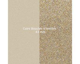 Cuirs boucles d'oreilles 43 mm Les Georgettes - Crème/Paillettes dorées