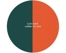 Cuir collier Les Georgettes - Bleu paon/Feu 16 mm