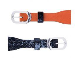 Bracelet cuir double tour Les Georgettes Coutures - Corail/Marine métallisé acier 10 mm