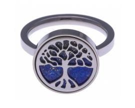 Bague Arbre de vie acier et lapis lazuli Stepec - IG 155