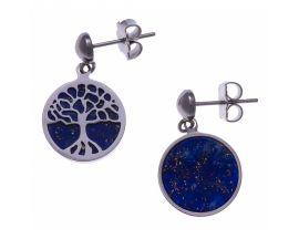 Boucles d'oreilles pendants acier arbre de vie lapis lazuli Stepec - IG 555