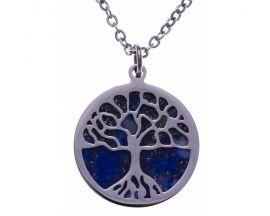 Collier acier arbre de vie lapis lazuli Stepec - IG 455